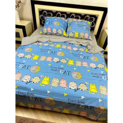 Постельное белье BestLine бязь gold BL-15033 Коты на голубом