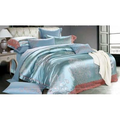 Комплект постельного белья Крис-Пол жаккард Голубой с вензелями (010)