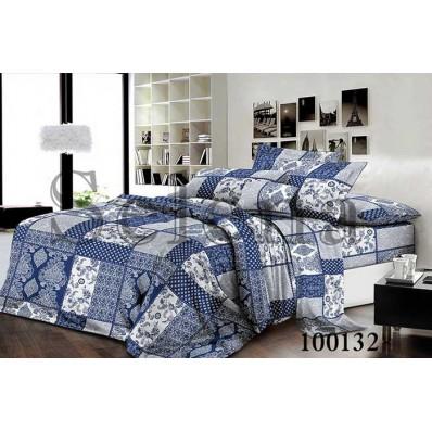 Комплект постельного белья  Selena бязь 100132 Печворк Синий