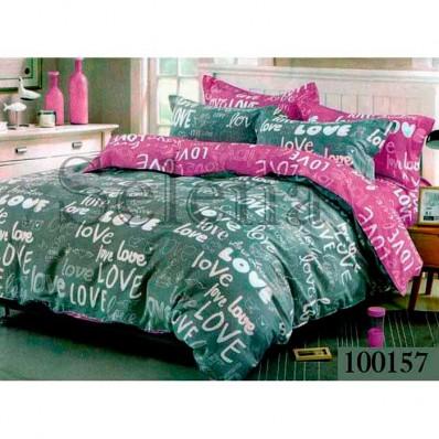 Комплект Постельное белье Selena бязь 100157 Love фиолетово-серый