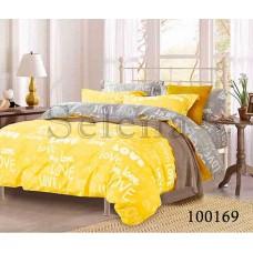 Постельное белье Selena бязь 100169 Love Серо-желтый