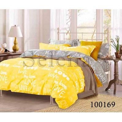 Комплект Постельное белье Selena бязь 100169 Love Серо-желтый
