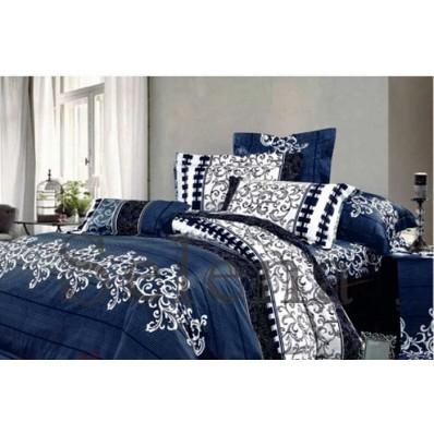 Комплект постельного белья Selena бязь 100023 Вензель Синий
