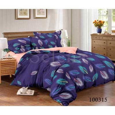 Постельное белье Selena бязь 100315 Перышки синие