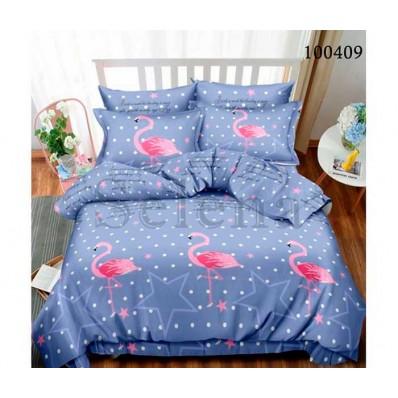 Постельное белье Selena бязь 100409 Звездный фламинго blue