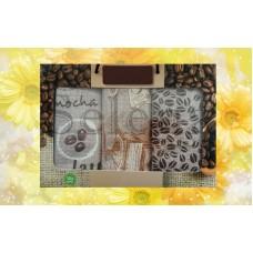 Набор вафельных кухонных полотенец Selena 700002 Кофе Зерна