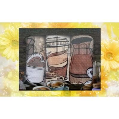 Набор вафельных кухонных полотенец Selena 700005 Утренний Кофе