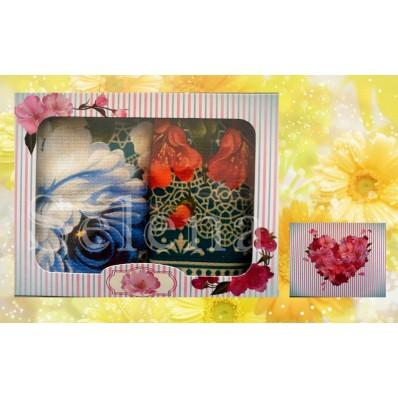 Набор вафельных кухонных полотенец Selena 700006 Цветок Зеленый