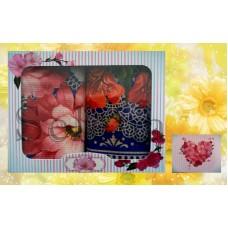 Набор вафельных кухонных полотенец Selena 700007 Цветок Синий