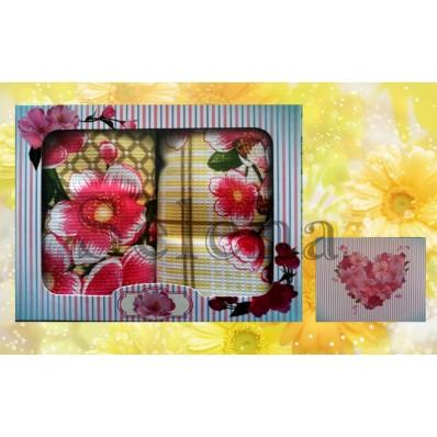 Набор вафельных кухонных полотенец Selena 700008 Цветочки Розовые