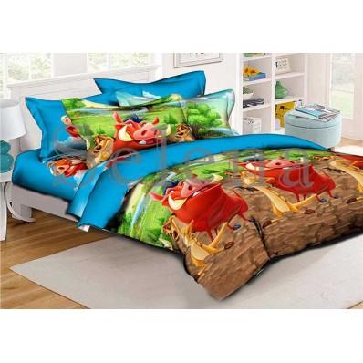 Комплект постельного белья Selena подростковое ранфорс 210200 Тимон и Пумба