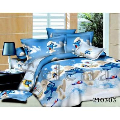 Комплект постельного белья Selena подростковое ранфорс 210303 Smurfiki-love