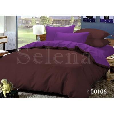 Комплект постельного белья Selena поплин 400106 Шоколад-Фиолетовый