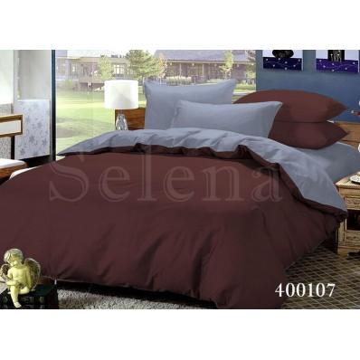 Комплект постельного белья Selena поплин 400107 Шоколад-Серый