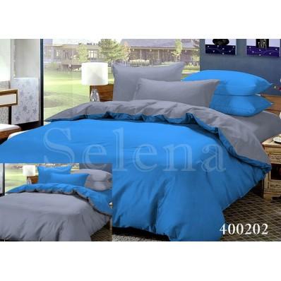 Комплект постельного белья Selena поплин 400202 Дуэт Серо-Синий