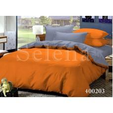 Постельное белье Selena поплин 400203 Серо-Оранжевый