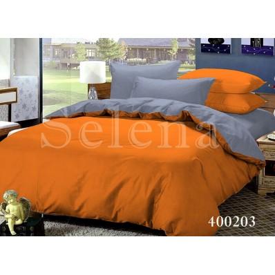 Комплект постельного белья Selena поплин 400203 Серо-Оранжевый