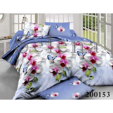 Комплект постельного белья Selena ранфорс 200153 Орхидея Голубая