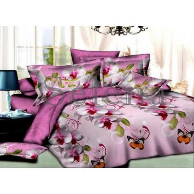 Комплект постельного белья Selena ранфорс 200156 Орхидея Бабочки