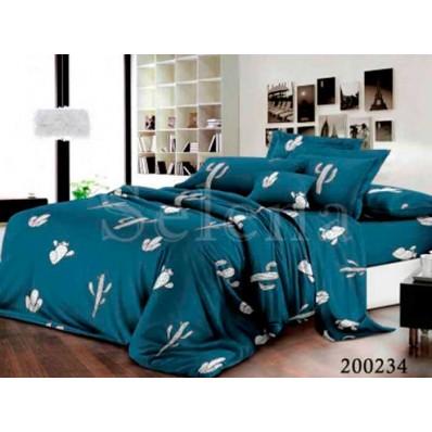 Комплект Постельное белье Selena ранфорс 200234 Кактусы синие