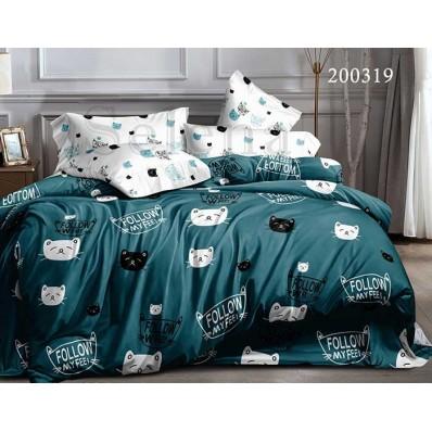 Постельное белье Selena ранфорс 200319 Мурчики Green