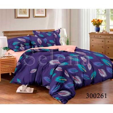 Комплект Постельного белья Selena сатин 300261 Перышки синие