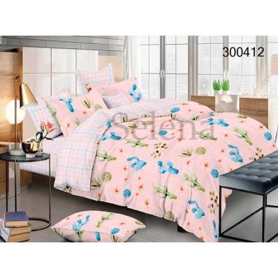 Комплект Постельное белье Selena сатин 300412 Кактусы міх