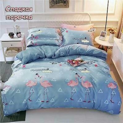 Постельное белье Tirotex бязь TRX00205 Парочка фламинго голубой